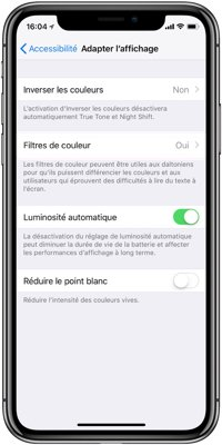 iphone batterie luminosite automatique